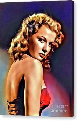 Ann Sheridan, Vintage Hollywood Actress. Digital Art By Mb Canvas Print by Mary Bassett