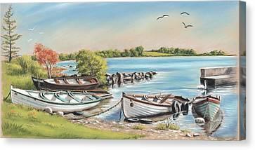 Annadown Pier Canvas Print by Vanda Luddy
