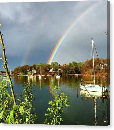 Annapolis Double Rainbow Canvas Print by Angelica Demiris