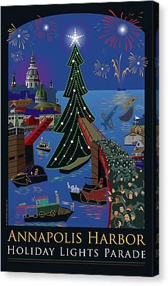 Annapolis Holiday Lights Parade Canvas Print by Joe Barsin