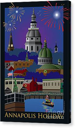 Annapolis Holiday With Title Canvas Print