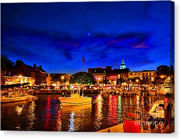 Annapolis Magic Night Canvas Print by Olivier Le Queinec