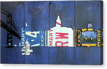Annapolis Maryland Skyline Vintage License Plate Art Canvas Print by Design Turnpike