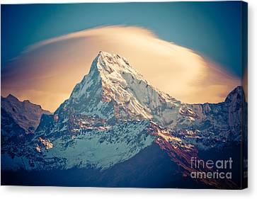 Tibetan Canvas Print - Annapurna Sunrise Himalayas Mountains by Raimond Klavins