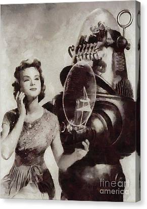 Anne Francis And Robby The Robot From Forbidden Planet Canvas Print by Sarah Kirk