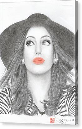 Anne Hathaway Canvas Print by Eliza Lo