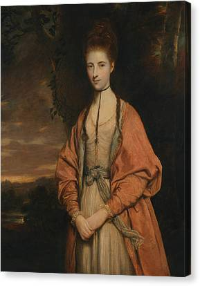Portrait Of Woman Canvas Print - Anne Seymour Damer  by Joshua Reynolds