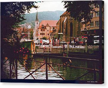Annecy France Village Scene Canvas Print
