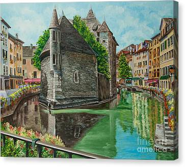 Annecy-the Venice Of France Canvas Print by Charlotte Blanchard