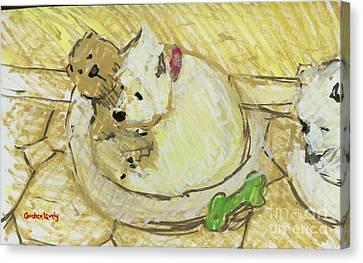 Annie With Bear Canvas Print