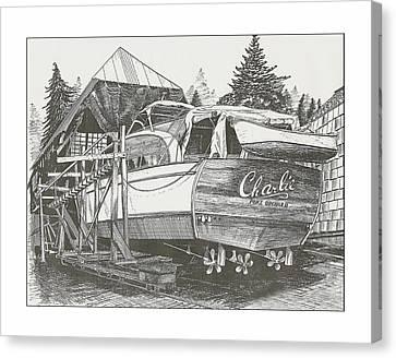 Chris Craft Custom Canvas Print - Annual Haul Out Chris Craft Yacht by Jack Pumphrey