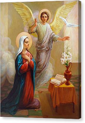 Canvas Print featuring the painting Annunciation To The Blessed Virgin Mary by Svitozar Nenyuk