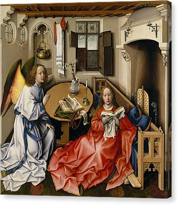 Annunciation Triptych, Merode Altarpiece, Central Panel Canvas Print by Robert Campin