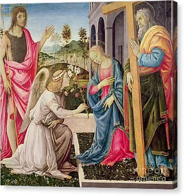 Annunciation With Saint Joseph And Saint John The Baptist Canvas Print