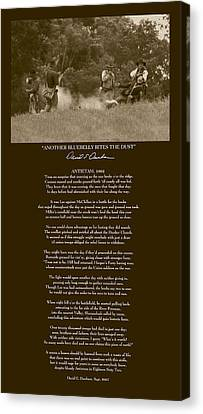 Another Bluebelly Bites The Dust W Poem Canvas Print by David Dunham