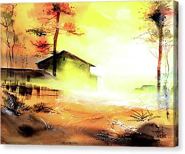 Canvas Print featuring the painting Another Good Morning by Anil Nene