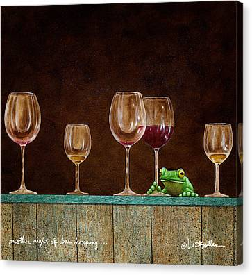 Red Wine Canvas Print - Another Night Of Bar Hopping... by Will Bullas