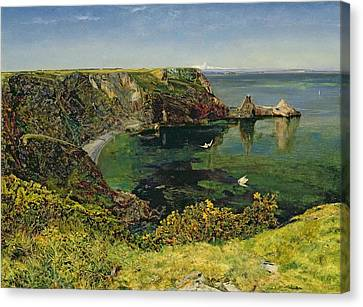 Anstey's Cove In Devon Canvas Print by John William Inchbold