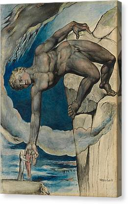 Antaeus Setting Down Dante And Virgil In The Last Circle Of Hell Canvas Print by William Blake