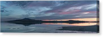 Antelope Island Panoramic Sunset Canvas Print by Justin Johnson