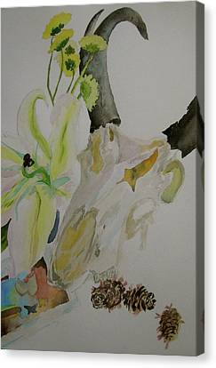 Canvas Print featuring the painting Antelope Skull Pinecones And Lily by Beverley Harper Tinsley