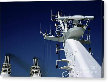 Antennas And Chimneys On A Large Ferry Canvas Print by Sami Sarkis