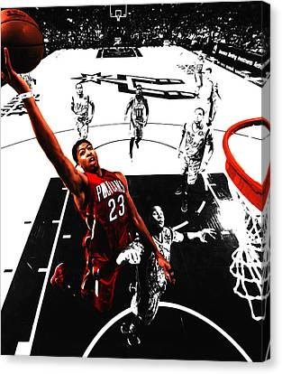 Anthony Davis In Flight Canvas Print by Brian Reaves