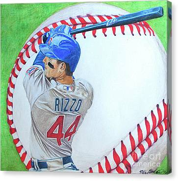 Canvas Print featuring the drawing Anthony Rizzo 2016 by Melissa Goodrich