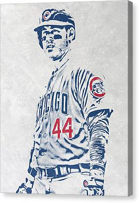 Anthony Rizzo Chicago Cubs Pixel Art Canvas Print by Joe Hamilton