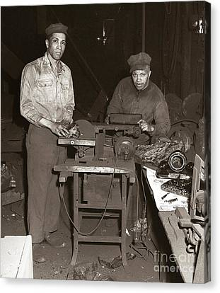 Anthracite Coal Artist  Charles Edgar Patience On Right  1906-1972 In Studio 1953    Canvas Print