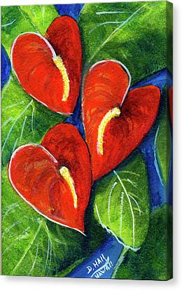 Anthurium Flowers #272 Canvas Print by Donald k Hall