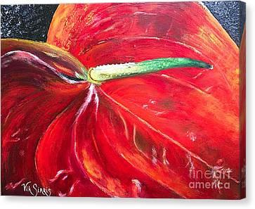 Pallet Knife Canvas Print - Anthurium  by Viktoriya Sirris