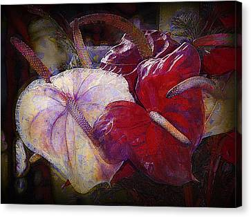 Canvas Print featuring the photograph Anthuriums For My Valentine by Lori Seaman