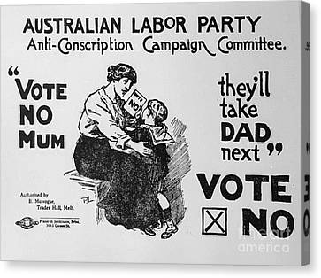 Anti Conscription Poster Canvas Print by Pd