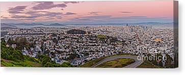 Anti-crepuscule Panorama Of San Francisco From Twin Peaks Scenic Overlook - California Canvas Print by Silvio Ligutti