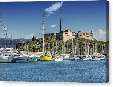 Port Town Canvas Print - Antibes Fort Carre And Port Vauban  by Melanie Viola