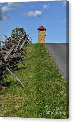 Antietam Battlefield Observation Tower Canvas Print by Lois Bryan
