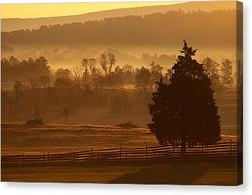 Antietam National Battlefield At Sunrise Canvas Print by Brian M Lumley