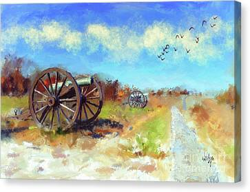Canvas Print featuring the digital art Antietam Under Blue Skies  by Lois Bryan