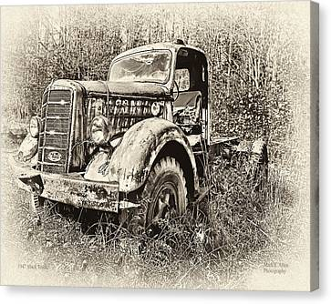 Antique 1947 Mack Truck Canvas Print by Mark Allen