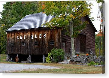 Antique Barn In Fall Canvas Print by Lois Lepisto