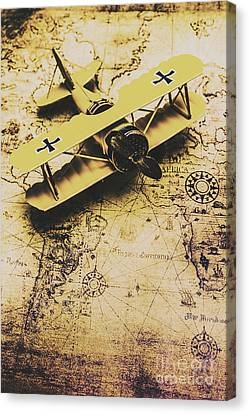 Antique Biplane On Old Map Canvas Print by Jorgo Photography - Wall Art Gallery