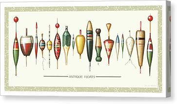 Antique Bobbers Canvas Print by JQ Licensing