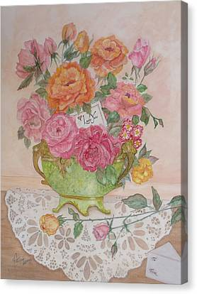 Antique Bowl With Roses Canvas Print