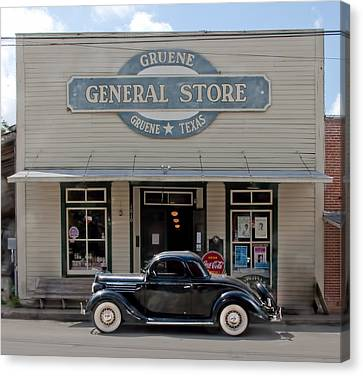 Antique Car At Gruene General Store Canvas Print