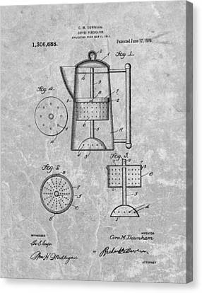 Coffee Beans Canvas Print - Antique Coffee Percolator Patent by Dan Sproul