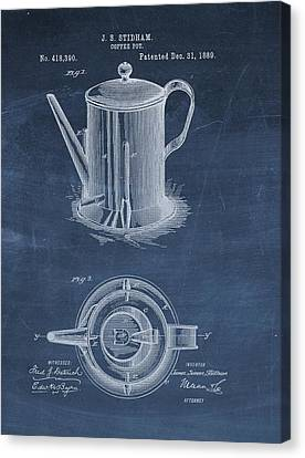 Coffee Beans Canvas Print - Antique Coffee Pot Patent by Dan Sproul