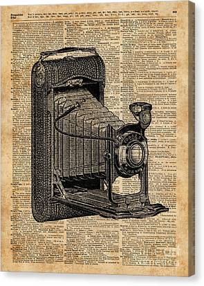 Antique Conley Camera,vintage Encyclopedia Book Page Canvas Print by Jacob Kuch