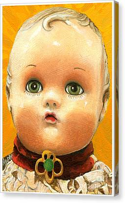 Antique Doll Oil Painting Canvas Print by Linda Apple