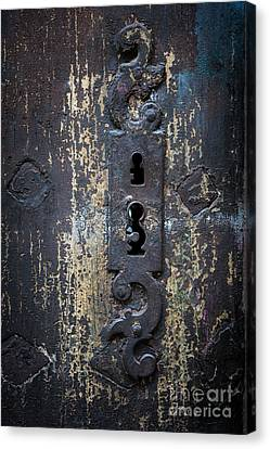 Canvas Print featuring the photograph Antique Door Lock Detail by Elena Elisseeva